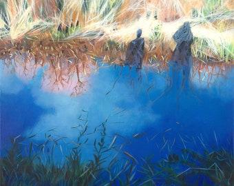 Original oil on deep edge linen- Calderbank Shadows