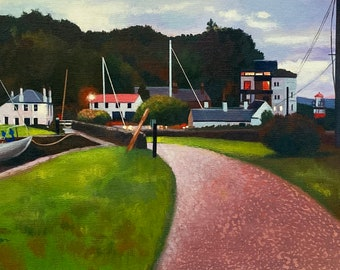 Giclee Print of Scottish Canal at Crinan inTwilight wall art