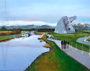 Giclee Print The Kelpies Helix Park Sunday Afternoon
