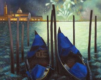 Giclee Print Venice Redentore Fireworks