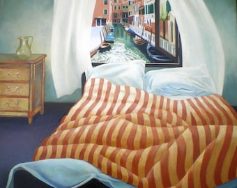 Giclee Print of Venice Bedroom stripy bed wall decor