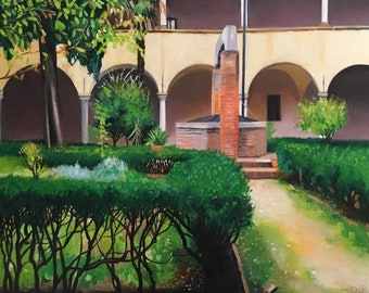 Original oil painting -Sant Agostino cloisters in San Gimignano