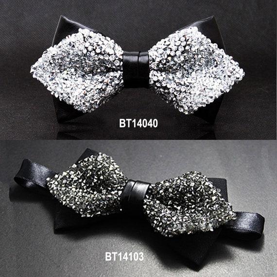cbfa16628207 Silver men's bow tie gold rhinestone bow tie Silver bow | Etsy