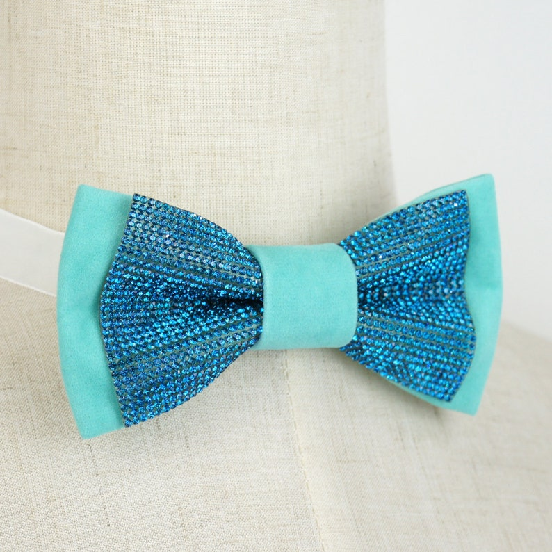 ccfc43a9640 Aqua pre-tied bow tie with Rhinestones mint green bow tie