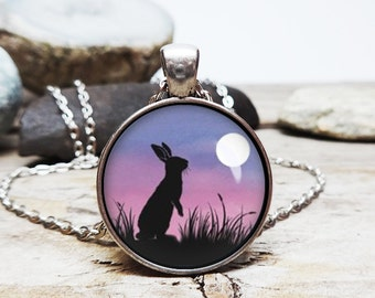 watership down necklace bunny necklace bunny pendant little bunny looking at the moon necklace richard adams story adams fan gift