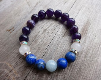 Moonstone Lapis Lazuli Amethyst Aquamarine Yoga Bracelet Healing Bracelet Wrist Mala Meditation Bracelet Yoga Jewelry Healing Crystals