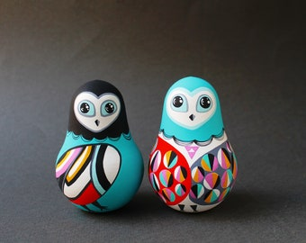 Owl Roly-Poly* Christmas gift for kids Musical Baby toy* Interior doll * Montessori nursery decor