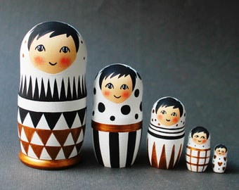 nesting dolls for kids* baby boy*hand-painted personalized gift for him* Montessori toys * black and white nursery decor*  name sign for her