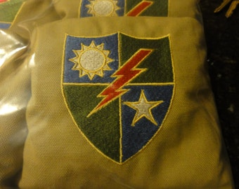 Embroidered 25th Infantry Division Corn Hole Bags ACAACO Specs your choice of Colors /& design Set of 4