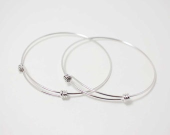 8da5758d0 L0001/Anti-tarnished Rhodium Plating Over Brass/Adjustable Bangle Bracelet  for Charms/68mm x 65mm,1.3m thickness/1pcs