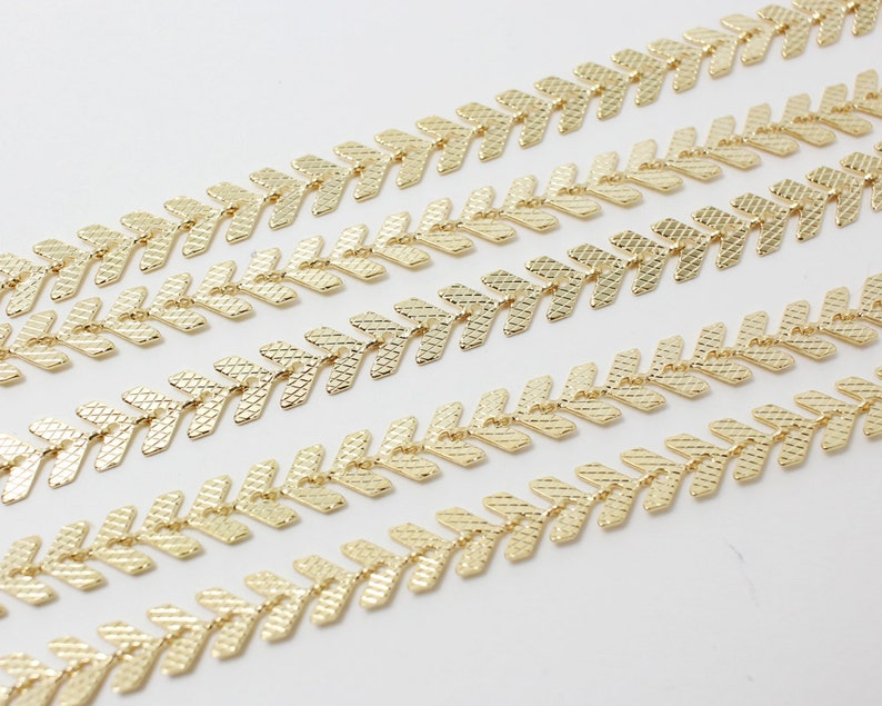 N0016Anti-Tarnished Gold Plating Over BrassFishbone Chain5x2mm1yard