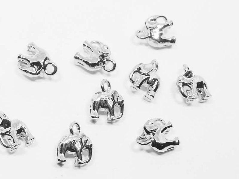 P0538/Anti-Tarnished Rhodium Plating Over Brass/Elephant Pendant  Small/6x8mm/2pcs
