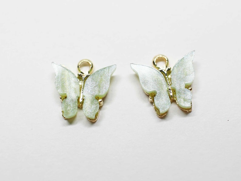 P1058Apple Mint Acrylic Butterfly Charm,Butterfly pendant,Add on charm,Acrylic pendant,Green butterfly gold plating2pcs