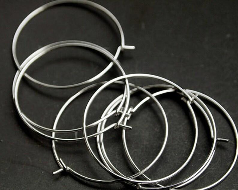 10pcs diameter B0009Anti-tarnished Rhodium Plating Over BrassHoop Earwire28mm