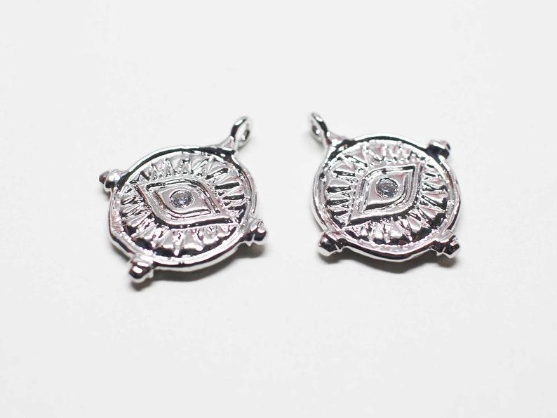 cubic eye charm,vintage charm,circle pendantRhodium plating2pcs P1130Cubic Evil eye Charm,evil eye pendant,eye pendant