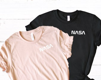 49b7e294 Women's NASA Logo T-Shirt in Black for Women - Women's NASA Shirt - Space  Shirts - Nasa Space Tees, NASA Shirt for Women