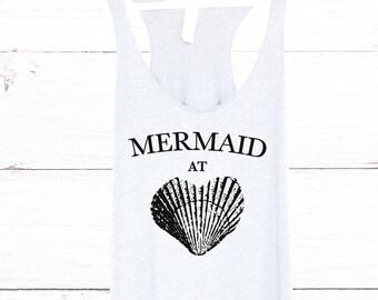 Mermaid at Heart Tank Top in Heather White - Mermaid Shirt with Seashell. Heather White with Black Print - Beach Tank Tops