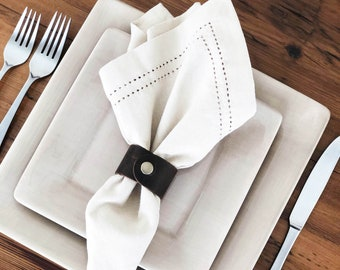 Leather Napkin Rings- Set of 4, table decor, wedding decor, farmhouse decor