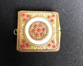 Antique French Ormolu Told Toned Metal with Red Jewels Mother of Pearl and Green Enamelled Leaves. Trinket Box Compact ChatBelaine