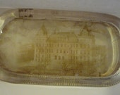 Large Antique Glass Paper Weight Souvenir Paper back Picture Capitol Albany N.Y. Trinket Holder Very Cool