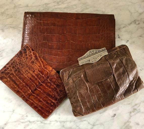 Vintage Alligator and Crocodile Clutch Bags x 2 wi