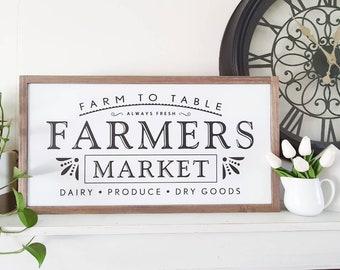 Farmers Market - Framed Farmhouse Style Wood Sign - 64 x 34cm Farmhouse Decor Australia buy from the bush