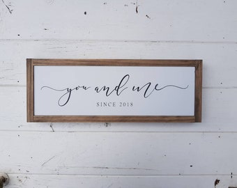 """You and Me Since {date} Framed Fixer Upper Style Wood Sign Modern Country Wooden Timber Home Decor Wedding Gift - 50 x 18cm (19.75""""x7"""")"""