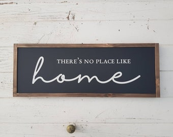 There's no place like home - Farmhouse Sign Australia Framed Painted Wood Modern Country Style Rustic Wood Timber Home Decor - 70 x 27.5cm