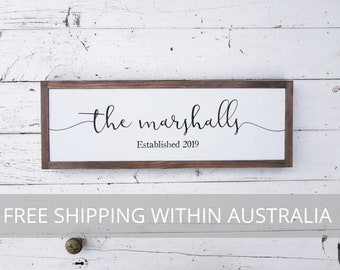 Framed Established Family Wood Sign Last Name Surname - Rustic Hand Painted Timber Wooden Sign FREE Australian SHIPPING Made in Australia