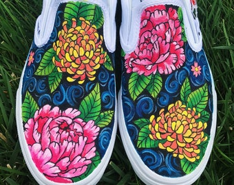 b35c0944040 Floral Handpainted Canvas Shoes with Peonies and Chrysanthemums (Vans