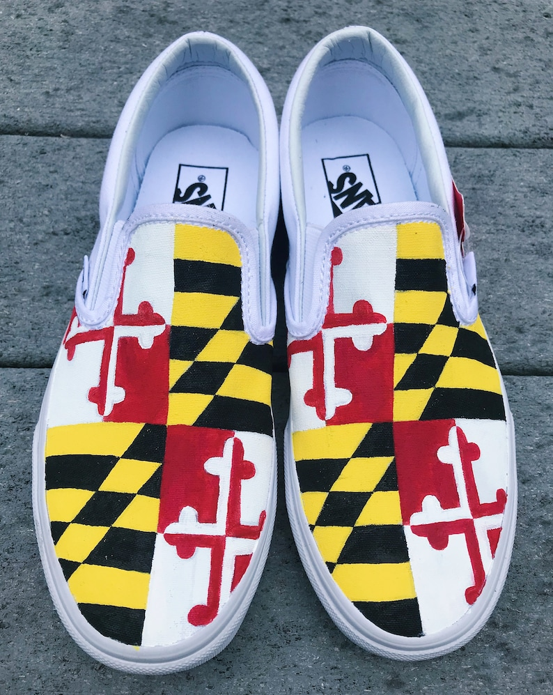 66965f774f Maryland Flag Handpainted Canvas Shoes Vans Converse Toms