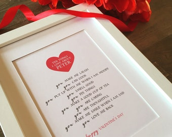 Ten things I love about you... Personalised LOVE Frame