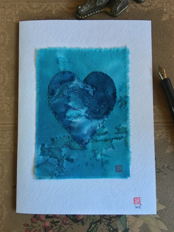 Handstitched Blank Notecard with envelope.  5x7. Blue on Blue Batik.