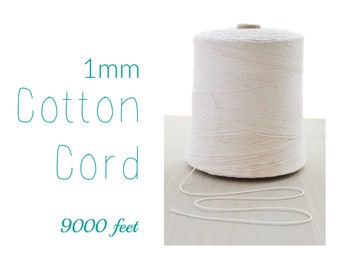 Macrame Cord // Cotton Twine // 1mm Natural Cotton Rope // Cotton String // 9000 feet