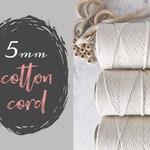 5mm Macrame Cord || 850 Foot Rolls || BULK || Single Strand Cotton Twine || Natural Cotton Rope || Cotton String