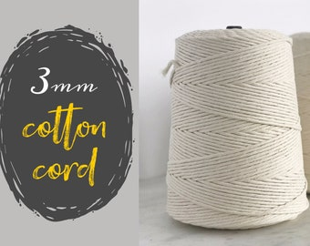 3mm COTTON MACRAME CORD || Single Strand Rope || Unbleached || 1600 foot Rolls