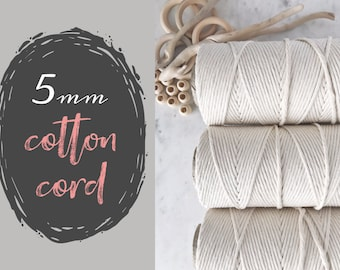 5mm COTTON MACRAME CORD || Single Strand Rope || Natural Unbleached String || 850 Foot Rolls