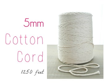 Macrame Cord // Cotton Twine // 5mm Natural Cotton Rope // Cotton String // 1250 feet