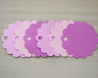 Purple party favor tags - party favour tags - round paper tags - 2 inch paper tags