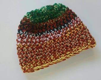 Chapeau pour enfant, enfants, 5-9 ans, l hiver des chapeaux, des chapeaux  unisex, chapeaux au crochet, vert, orange, jaune, blanc, unique en son  genre, ... c3b95641cb9