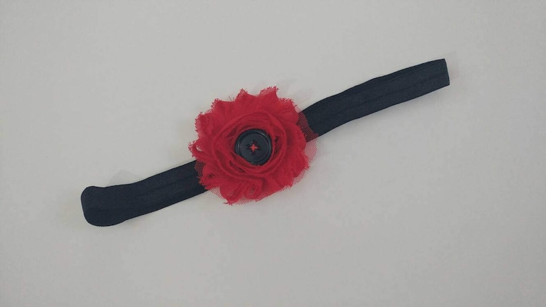 sewn girls RTS One of a kind shabby red button hairpiece children/'s 4-9yrs black stretchy kids unique handmade headband punky
