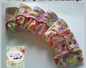 6pk doll diapers, doll cloth diapers, made on order, surprise prints, baby alive diapers, baby alive accessories, gifts for kids