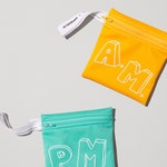 School Edition ~ DUO AM + PM ~ reusable snack bag ~ small ~ Reusable snack bags