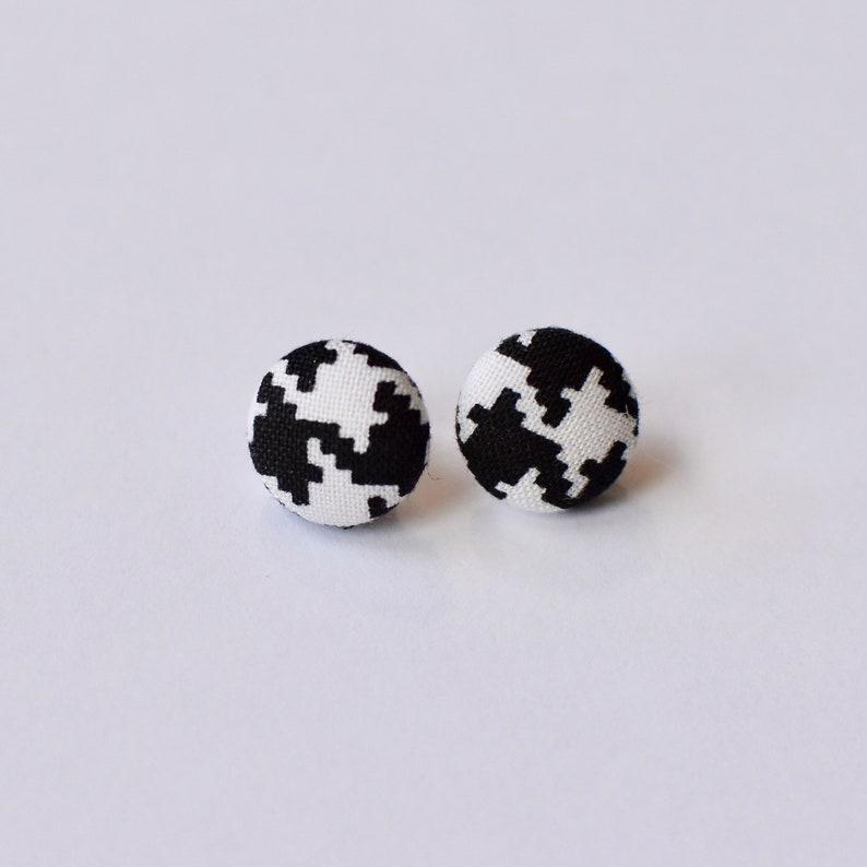 Black and White Tartan Earrings Earrings Button Earrings Stud Earrings Fabric Earrings
