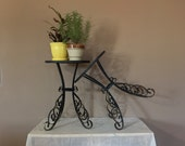 Vintage Pair Scroll Plant Stands Set of Two Vintage Wrought Iron Plant Stands Pair of Plant Stands Metal Plant Stands Plant Stands Out