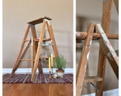 34 quot Tall Vintage Wood Step Ladder Wood Ladder Decorative Ladder Vintage Stepstool Vintage Plant Stand Wooden Ladder Antique Ladder