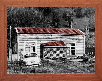 Old cottage, ruins, black and white photo, rural landscape, abandoned building.