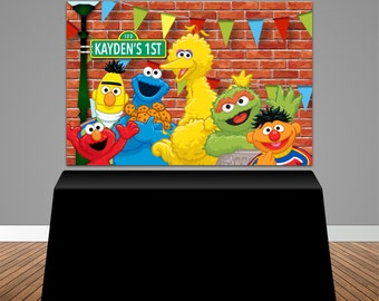 Sesame Street Themed Baby Shower 6x4 Candy Buffet Table Banner Backdrop Design Print And