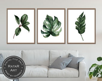 High Quality Tropical Wall Art Printable Set, Tropical Home Decor, Botanical Print,  Tropical Leaf Prints, Floral Artwork, Plant Farmhouse Prints