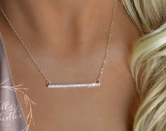 Diamond Bar Necklace, Crystal Bar Necklace, cz necklace, skinny bar necklace, pave necklace, sterling silver bar necklace